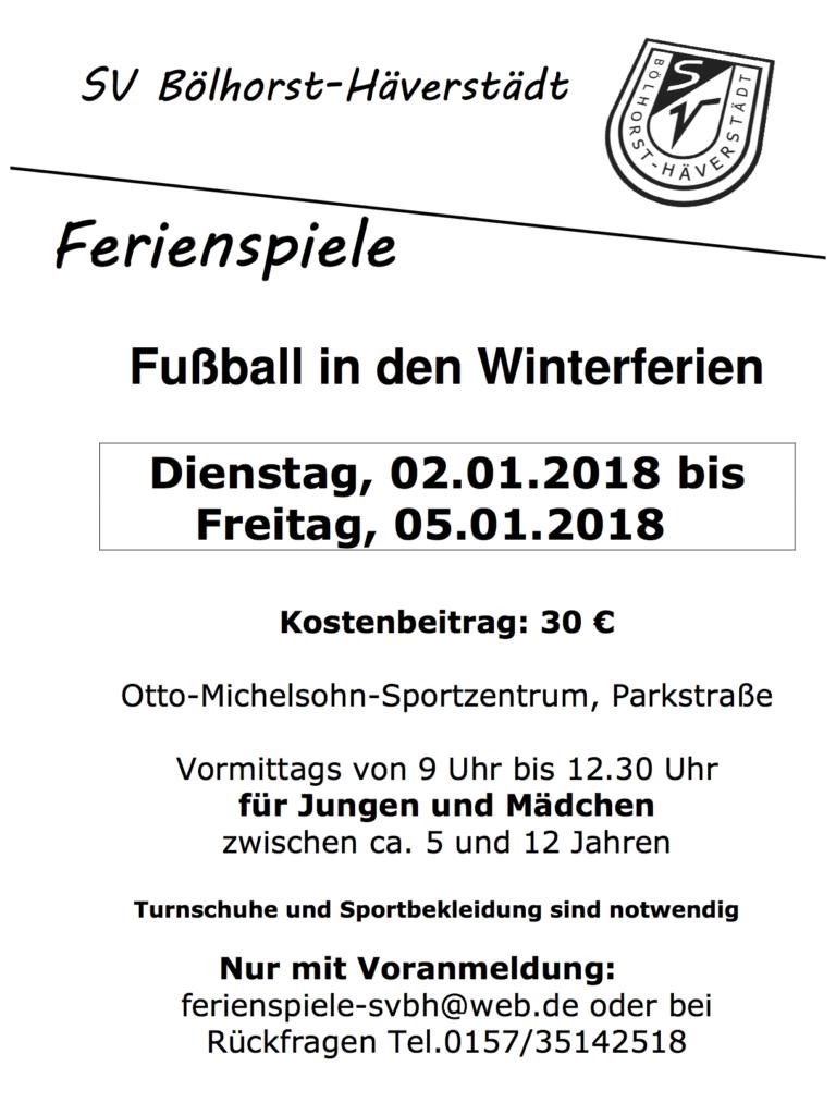 Fußballferien Winter 2017/18